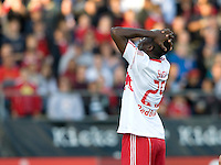 Salou Ibrahim of Red Bull reacts after missing a goal during the game against the Earthquakes at Buck Shaw Stadium in Santa Clara, California.  San Jose Earthquakes defeated New York Red Bulls, 4-0.