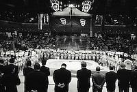 The opening ceremony at the National sumo stadium..450 children, aged between 11-14, qualified for  the All Japan Wanpaku Sumo Tournament. The  Ryogoku Kokugikan Stadium, Tokyo, Japan.
