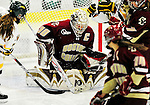 16 October 2010: Boston College Eagles' goaltender Molly Schaus, a Senior from Natick, MA, makes a third period save against the University of Vermont Catamounts at Gutterson Fieldhouse in Burlington, Vermont. The Eagles defeated the Lady Cats 4-1 in the second game of their weekend series. Mandatory Credit: Ed Wolfstein Photo
