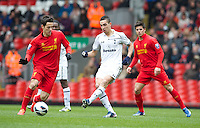 LIVERPOOL, ENGLAND - Easter Monday, April 1, 2013: Tottenham Hotspur's Nabil Bentaleb in action against Liverpool during the Under 21 FA Premier League match at Anfield. (Pic by David Rawcliffe/Propaganda)