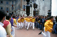 Gubbio 15 MAY 2006..Festival of the Ceri..The run of the Ceri of the afternoon ..The ceraioli of St Ubaldo ....http://www.ceri.it/ceri_eng/index.htm..