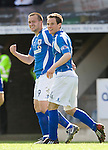 St Johnstone v Morton....02.05.09.Steven Milne celebrates his first goal with Kevin Moon.Picture by Graeme Hart..Copyright Perthshire Picture Agency.Tel: 01738 623350  Mobile: 07990 594431