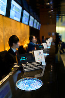 Edokiriko used to decorate the ticket counter at the Tokyo Sky Tree, Tokyo, Japan, January 15, 2015. Edokiriko is a style of cut glass that dates back to 1834 and is similar to British cut glass. It makes use coloured glass and highly-intricate Japanese motifs.