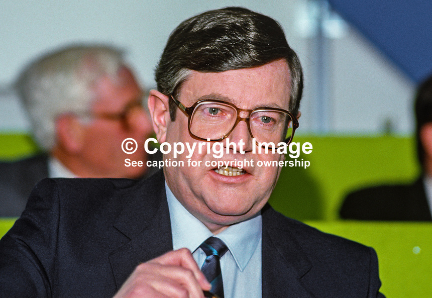 Ray Burke, TD, Fianna Fail, Rep of Ireland, 19860405RB.<br /> <br /> Copyright Image from Victor Patterson, 54 Dorchester Park, Belfast, UK, BT9 6RJ<br /> <br /> t: +44 28 90661296<br /> m: +44 7802 353836<br /> vm: +44 20 88167153<br /> e1: victorpatterson@me.com<br /> e2: victorpatterson@gmail.com<br /> <br /> For my Terms and Conditions of Use go to www.victorpatterson.com