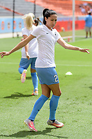 Houston, TX - Saturday April 15, 2017:  Christen Press warming up during a regular season National Women's Soccer League (NWSL) match won by the Houston Dash 2-0 over the Chicago Red Stars at BBVA Compass Stadium.