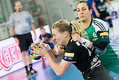 Nina Woerz of Krim vs Andrea Lekic of Gyori   during handball match between RK Krim Mercator and Gyori Audi ETO KC (HUN) in 3rd Round of Group B of EHF Women's Champions League 2012/13 on October 28, 2012 in Arena Stozice, Ljubljana, Slovenia. Gyori defeated Krim Mercator 31-20. (Photo By Vid Ponikvar / Sportida)