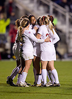Lindsay Taylor (17) of Stanford celebrates her goal with teammates during the second game of the NCAA Women's College Cup at WakeMed Soccer Park in Cary, NC.  Stanford defeated Boston College, 2-0.