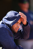 OAKLAND, CA - SEPTEMBER 10:  Nelson Cruz #23 of the Seattle Mariners watches from the dugout during the game against the Oakland Athletics at the Oakland Coliseum on Saturday, September 10, 2016 in Oakland, California. Photo by Brad Mangin