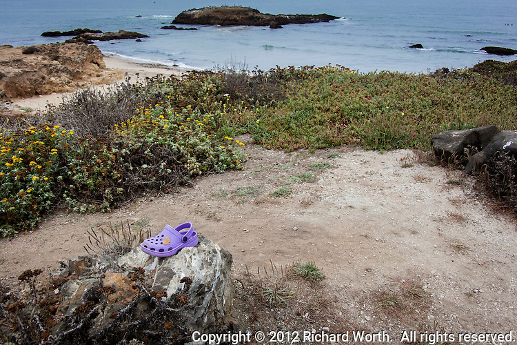 What's the story?  Ocean, beach and on a rock in the parking area sits a child's shoe, or slipper -  footwear.  Purple.  It is purple and cute.   But what is its story?