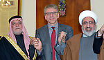 The Rev. Dr. Olav Fykse Tveit (center), the general secretary of the World Council of Churches, poses with the president of the Iraqi Sunni Endowment, Dr. Abdul Al-Lateef Al-Hemyem (left), and Yusef El-Nasar, a Shia Muslim leader, during the visit of an international ecumenical delegation to Baghdad, Iraq, on January 21, 2017. The encounter took place at St Gregory the Illuminator Armenian Orthodox Church.