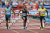The Mens 100m heat 2 Hurdles race at the Sainsbury Anniversary Games, Olympic Stadium, London England, Saturday 27th July 2013-Copyright owned by Jeff Thomas Photography-www.jaypics.photoshelter.com-07837 386244. No pictures must be copied or downloaded without the authorisation of the copyright owner.