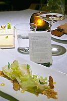 Vienna, Austria. The &quot;Steirereck&quot; with award winning Chef Heinz Reitbauer Junior is probably Vienna's best restaurant.<br /> Endiviensalat mit Knollen-Sauerklee, Kr&auml;uterseitlingen &amp; Persischen Limetten (Endive with Wood Sorrel Root, King Trumpet Mushrooms and Persian Lime.)