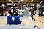 11 February 2017: Duke's Peter Yang competes in Saber. The Duke University Blue Devils hosted the Massachusetts Institute of Technology Engineers at Card Gym in Durham, North Carolina in a 2017 College Men's Fencing match. Duke won the dual match 19-8 overall, 7-2 Foil, 6-3 Epee, and 6-3 Saber.