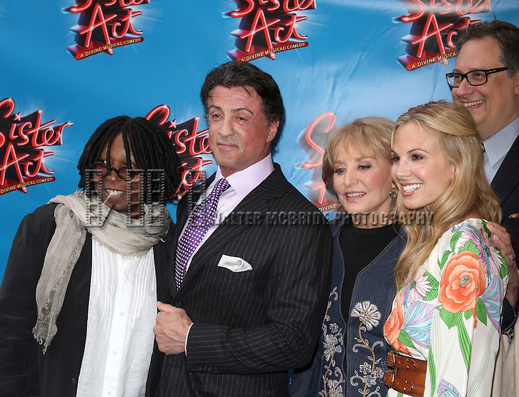 Whoopi Goldberg & Sly Stallone with Barbara Walters, Elisabeth Hasselbeck & Douglas Carter Beane.attending the Broadway Opening Night Performance of 'Sister Act' at the Broadway Theatre n New York City.