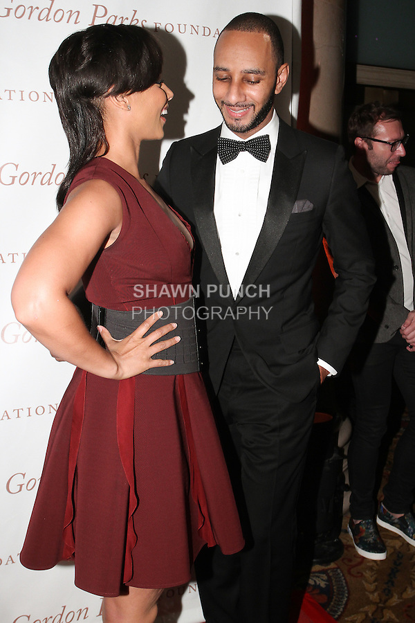 """Singer Alicia Keys and her husband Kasseem """"Swizz Beatz"""" Dean arrive at the Gordon Parks Foundation 2014 Award Dinner and Auction on June 3, 2014 at Cipriani Wall Street, located on 55 Wall Street."""
