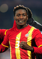 Asamoah Gyan of Ghana celebrates at the final whistle. Ghana defeated the USA 2-1 in overtime in the 2010 FIFA World Cup at Royal Bafokeng Stadium in Rustenburg, South Africa on June 26, 2010.
