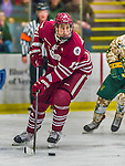 25 November 2014: University of Massachusetts Minutemen Defenseman Brennan Baxandall, a Sophomore from Calgary, Alberta, in action against the University of Vermont Catamounts at Gutterson Fieldhouse in Burlington, Vermont. The Cats defeated the Minutemen 3-1 to sweep the 2-game, home-and-away Hockey East Series. Mandatory Credit: Ed Wolfstein Photo *** RAW (NEF) Image File Available ***