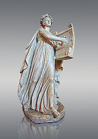 Roman ststue of Apollo with a lyre, copied from an earlier 4th cebtury BC Hellenistic statue, from a group of Muses found in Villa de Cassius at Tivoli,  inv 310, Vatican Museum Rome, Italy,  grey  background
