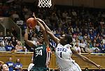 24 February 2012: Duke's Elizabeth Williams (1) fouls Miami's Sylvia Bullock (34). The Duke University Blue Devils defeated the University of Miami Hurricanes at Cameron Indoor Stadium in Durham, North Carolina in an NCAA Division I Women's basketball game.