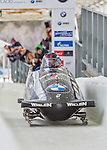9 January 2016: United States of America pilot Steven Holcomb leads his 4-man team as they cross the finish line after their second run of the day at the BMW IBSF World Cup Bobsled Championships at the Olympic Sports Track in Lake Placid, New York, USA. Holcomb's team came in 8th for the day, with a 2-run combined time of 1:50.69. Mandatory Credit: Ed Wolfstein Photo *** RAW (NEF) Image File Available ***