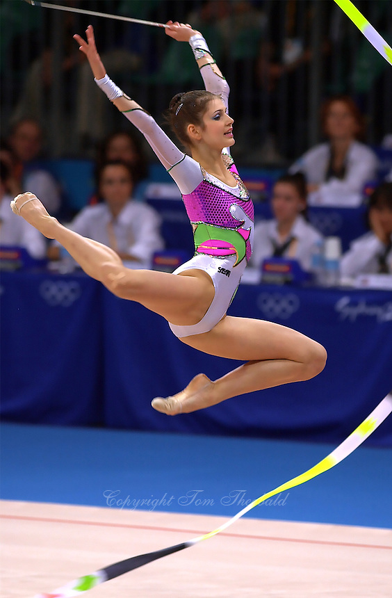 Sep 29, 2000; SYDNEY, AUSTRALIA:<br /> IVA TEPESHANOVA of Bulgaria performs with ribbon during rhythmic gymnastics qualifying at 2000 Summer Olympics.
