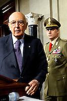 Roma, 21 Marzo 2013.Quirinale.Conclusione delle consultazioni per la formazione del nuovo Governo..Il Presidente della Repubblica Giorgio Napolitano.