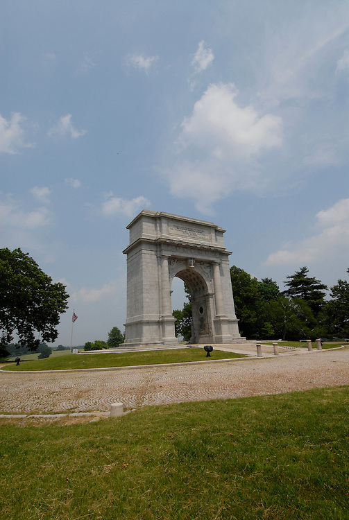 Valley Forge National Historical Park.  National Memorial Arch. .Philadelphia, Pennsylvania, PA USA.  Photo copyright Lee Foster, 510-549-2202, lee@fostertravel.com, www.fostertravel.com. Photo 364-30372.