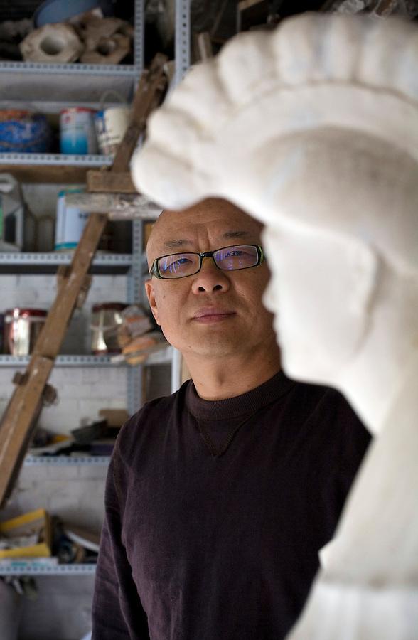 Chinese sculptor Wang Shugang in his Beijing studio.