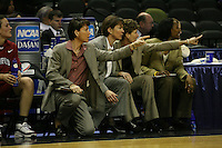 25 March 2006: Karen Middleton, Tara Vanderveer, Amy Tucker and Charmin Smith during Stanford's 88-74 win over the Oklahoma Sooners during the NCAA Women's Basketball tournament in San Antonio, TX.