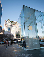 The cracked glass cube of the flagship Apple store in New York on Fifth Avenue is seen on Thursday, January 23, 2014. An unfortunate collision with a snowblower during the recent snow storm cracked the 32 foot glass panel of the cube. Media reports say the panel, one of 15, will cost $450,000 to replace.(© Richard B. Levine)