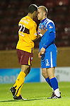 Motherwell v St Johnstone...10.11.10  .Nick Blackman squares up to Danny Grainger after he fouled Chris Humphrey.Picture by Graeme Hart..Copyright Perthshire Picture Agency.Tel: 01738 623350  Mobile: 07990 594431