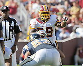 Landover, MD - October 12, 2008 -- Washington Redskins middle linebacker London Fletcher (59) calls defensive signals during the game against the St. Louis Rams at FedEx Field in Landover, Maryland on Sunday, October 12, 2008.  The Rams won the game 19 - 17..Credit: Ron Sachs / CNP
