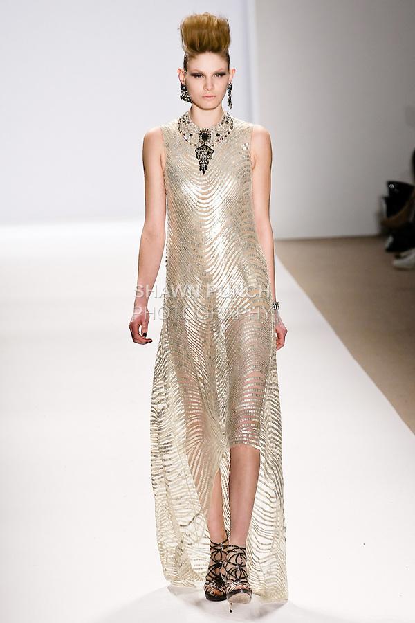 Viktoria Sekrier walks the runway in a Naeem Khan Fall 2010 outfit, during Mercedes-Benz Fashion Week Fall 2010.