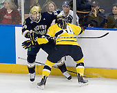 Nick Larson (Notre Dame - 26), Bobby Kramer (Merrimack - 10) - The University of Notre Dame Fighting Irish defeated the Merrimack College Warriors 4-3 in overtime in their NCAA Northeast Regional Semi-Final on Saturday, March 26, 2011, at Verizon Wireless Arena in Manchester, New Hampshire.