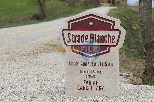 Monte Santa Maria gravel sector dedicated to 3 time winner Fabian Cancellara today, Asciano, Tuscany, Italy 3rd March 2017.<br /> Picture: Eoin Clarke | Newsfile<br /> <br /> <br /> All photos usage must carry mandatory copyright credit (&copy; Newsfile | Eoin Clarke)