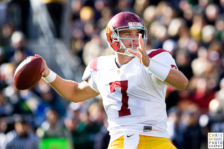 10/17/09 - South Bend, IN:  USC quarterback Matt Barkley throws a first quarter pass against Notre Dame at Notre Dame Stadium on Saturday.  USC won the game 34-27 to extend its win streak over Notre Dame to 8 games.  Photo by Christopher McGuire.