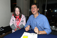 NO FEE PICTURES.29/11/11 Jeff Kinney, author of Wimpy Kids books, with fan Eimear Bryan, in Dublin to celebrate the launch of Diary of a Wimpy Kid: Cabin Fever at a one off event held at Liberty Hall Theatre in association with Eason. Pictures:Arthur Carron/Collins