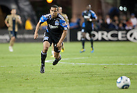Giovanni chases down the ball. The San Jose Earthquakes defeated the Philadelphia Unioin 1-0 at Buck Shaw Stadium in Santa Clara, California on September 15th, 2010.