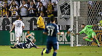 CARSON, CA - September 17, 2011: LA Galaxy midfielder Mike Magee's first goal of the night getting past Vancouver Whitecaps goalie Joe Cannon (1) during the match between LA Galaxy and Vancouver Whitecaps at the Home Depot Center in Carson, California. Final score LA Galaxy 3, Vancouver Whitecaps 0.