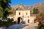 Restaurants in the baglio di Scopello courtyard  [ manor house of scopello ] Castellammare Del Golfo , Sicily.
