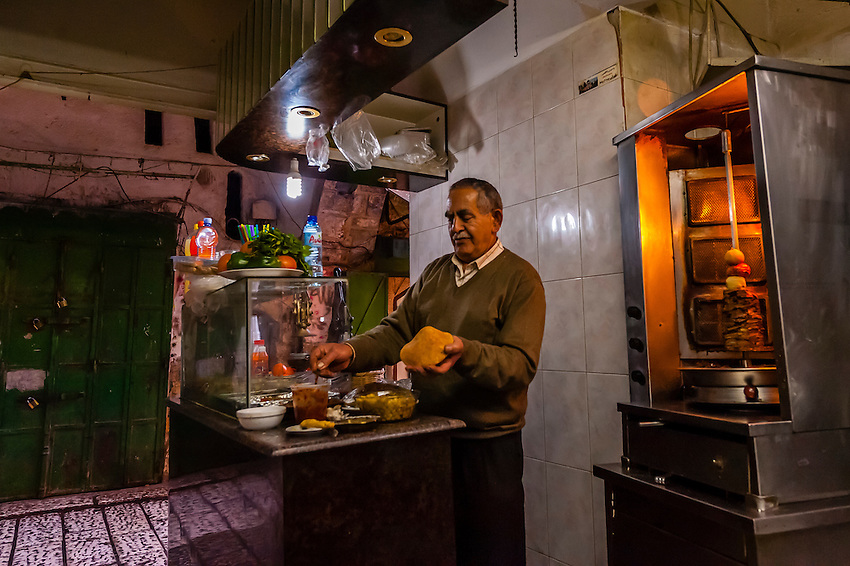 A falafel shop in the Arab Souk, Old City, Jerusalem, Israel.