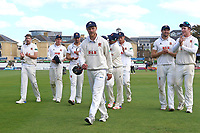 Jamie Porter leads off the Essex players after the home side clinch victory during Essex CCC vs Hampshire CCC, Specsavers County Championship Division 1 Cricket at The Cloudfm County Ground on 21st May 2017