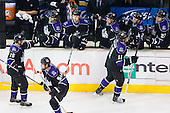 Anze Kopitar (Los Angeles Kings, #11) and team LA Kings celebrate goal during ice-hockey match between Los Angeles Kings and Colorado Avalanche in NHL league, Februar 26, 2011 at Staples Center, Los Angeles, USA. (Photo By Matic Klansek Velej / Sportida.com)