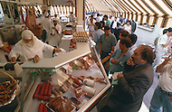 May 1989 --- Halal butcher in Marseille, market Boulevard Oddo --- Image by © JP Laffont