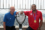 U.S. Olympic Medalists Cullen Jones and Rowdy Gaines visit the Empire State Building