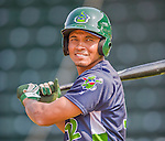 8 July 2015: Vermont Lake Monsters shortstop Richie Martin awaits his turn in the batting cage prior to a game against the Mahoning Valley Scrappers at Centennial Field in Burlington, Vermont. The Lake Monsters defeated the Scrappers 9-4 to open the home game series of NY Penn League action. Mandatory Credit: Ed Wolfstein Photo *** RAW Image File Available ****
