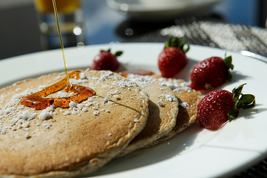 Buckwheat pancakes with strawberries at Atlantica inside the Allegria Hotel in Long Beach. (October 15, 2010).Photo by Danny Ghitis