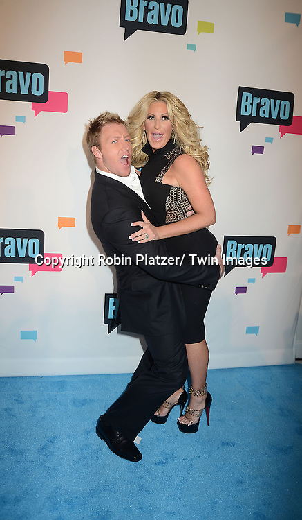 "Kroy Biermann and wife Kim Zolciak of "" Don't Be Tardy"" arrive at the Bravo 2013  Upfront on April 3, 2013 at Pillars 37 Studio in New York City."