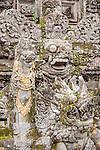 Ubud, Bali, Indonesia; stone carvings inside the Balinese Hindu temple, Pura Taman Saraswati