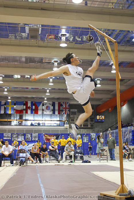 One foot high kick at the World Eskimo Indian Olympics held annually in July, Fairbanks, Alaska. Jesse Frankson 9' 6, tied the world record.